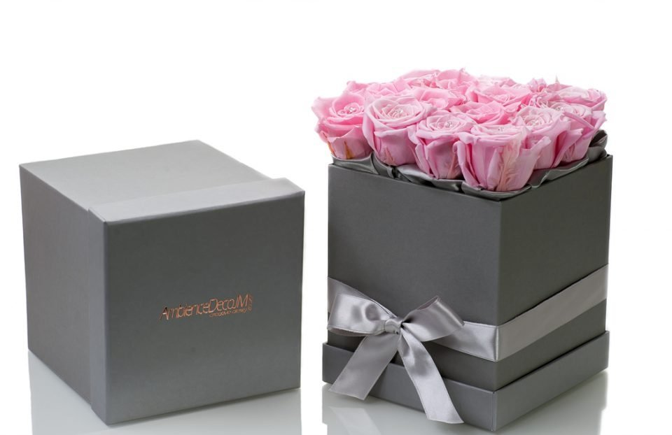 Pink Infinity-Roses-in-a-Square-Box