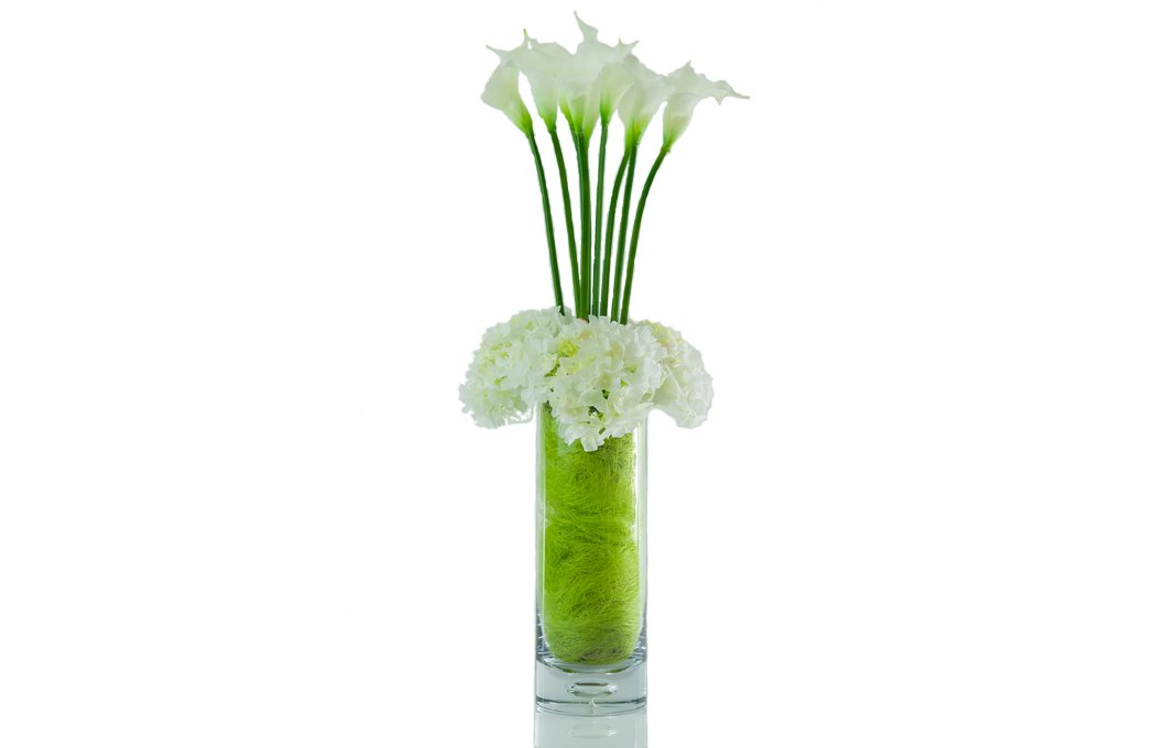 Real Touch White Calla Lily And Hydrangea Flower Arrangement