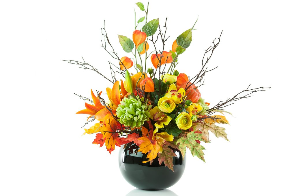King Lilies And Chinese Lanterns In Halloween Arrangement Preserved Floral Arrangements Silk Flowers