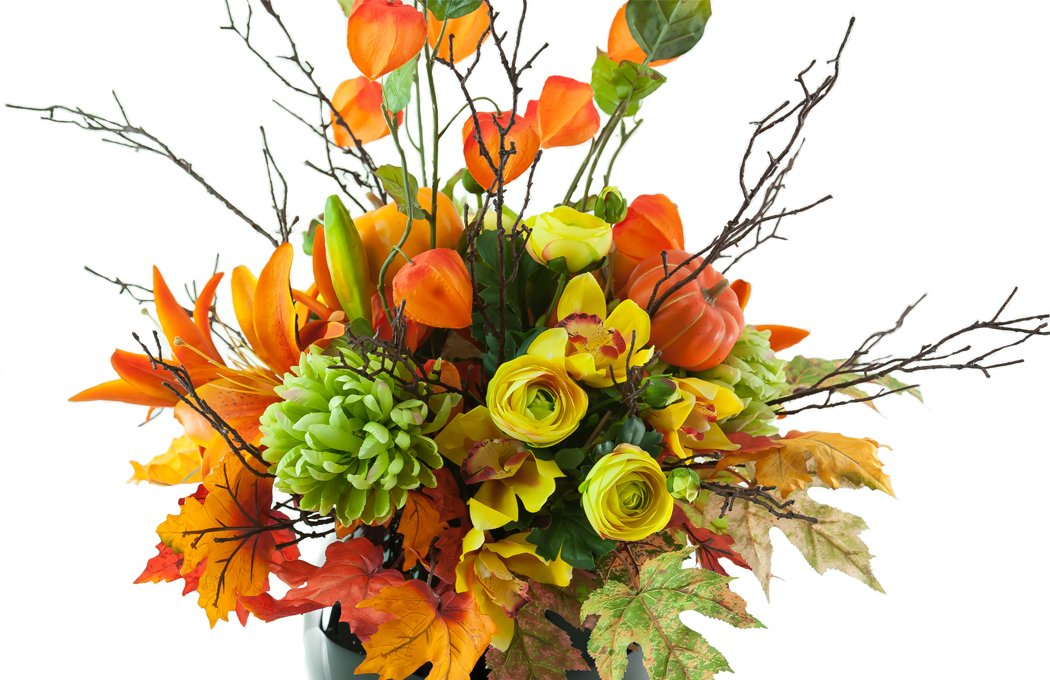 King lilies and Chinese lanterns in Halloween arrangement ...