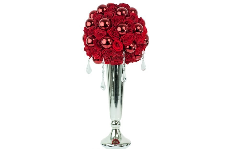 Gorgeous tall red infinity-rose-Christmas-centerpiece