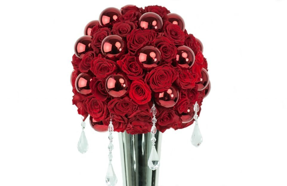 Gorgeous-tall-red-infinity-rose-Christmas-centerpiece
