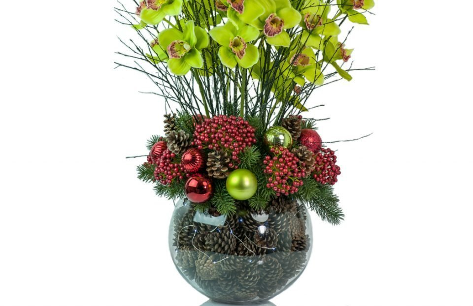 Christmas-cymbidium-orchid-centerpiece