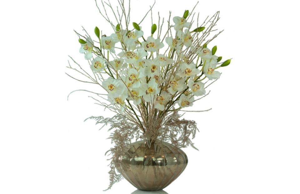 Stunning-faux-white-cymbidium-in-a-gold-vase