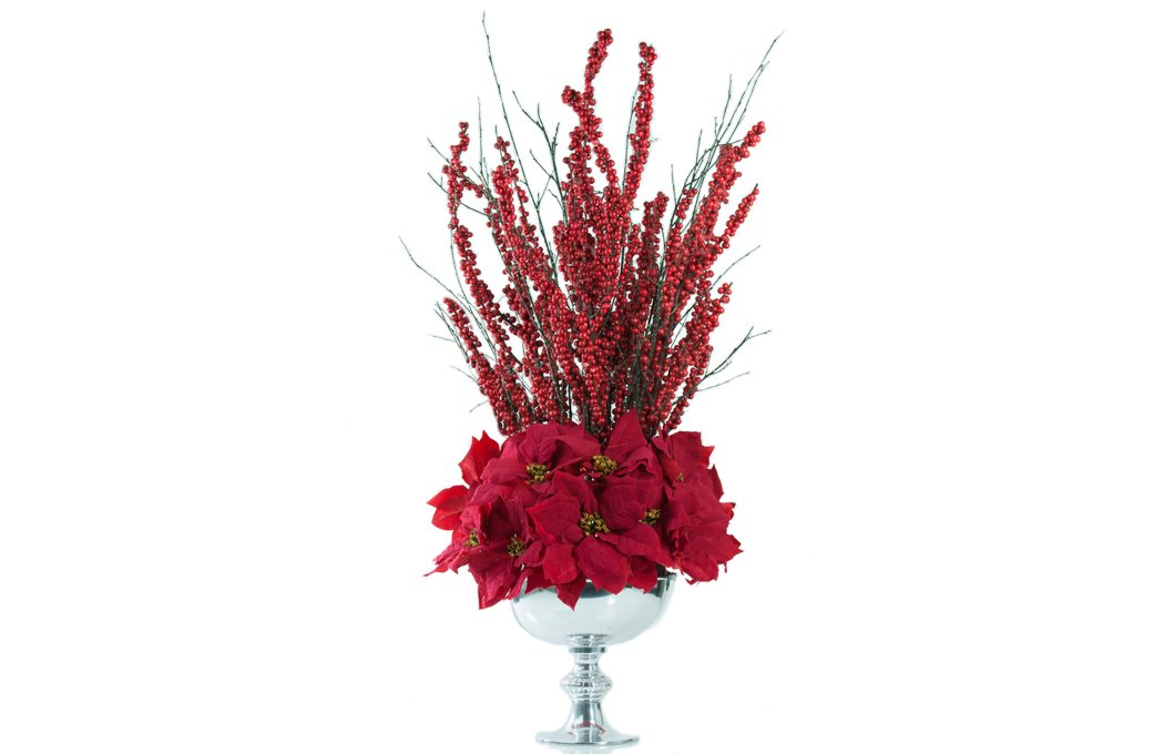 Red ilex berries Christmas centrepiece