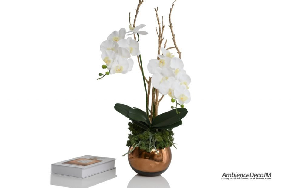 real touch orchids in gold fishbowl