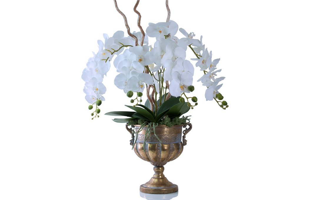 Luxury Faux Phalaenopsis Orchids Preserved Floral Arrangements Silk Flowers