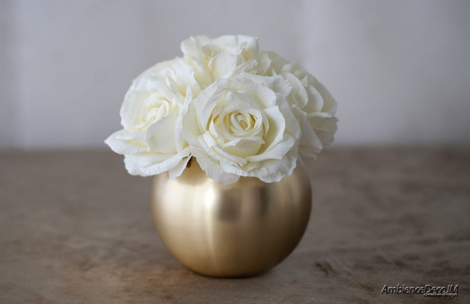 silk white roses in gold bowl vase