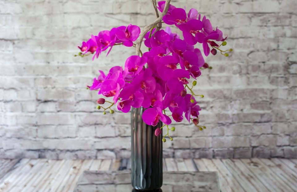 Hot pink artificial orchids