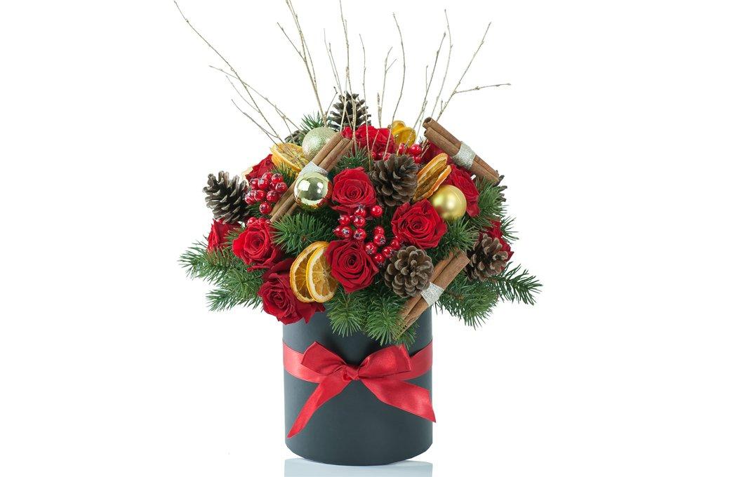 Hat Box Christmas Centerpiece Preserved Floral Arrangements Silk Flowers