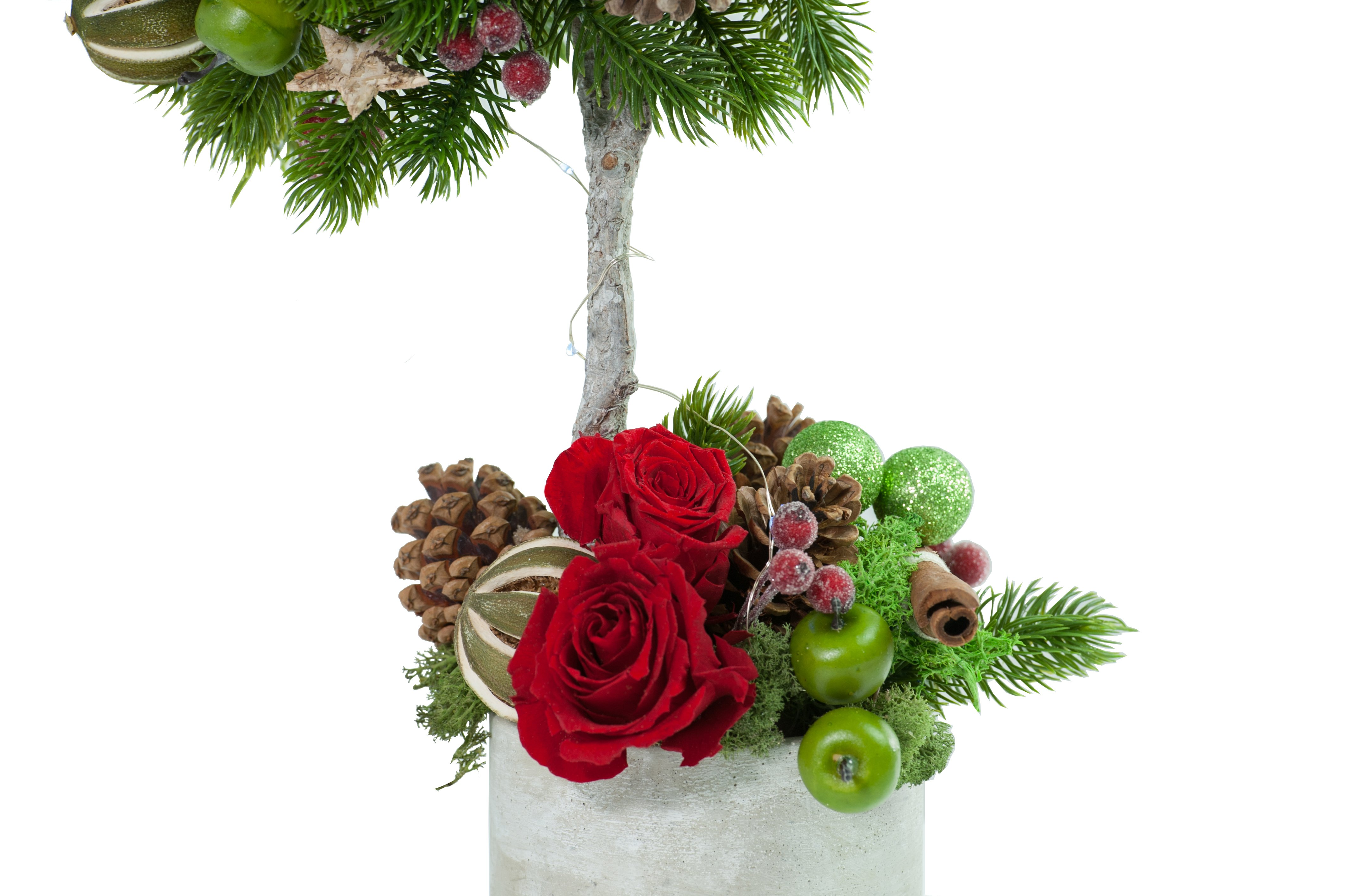 Bespoke Artificial Topiary Christmas Tree Preserved Floral Arrangements Silk Flowers