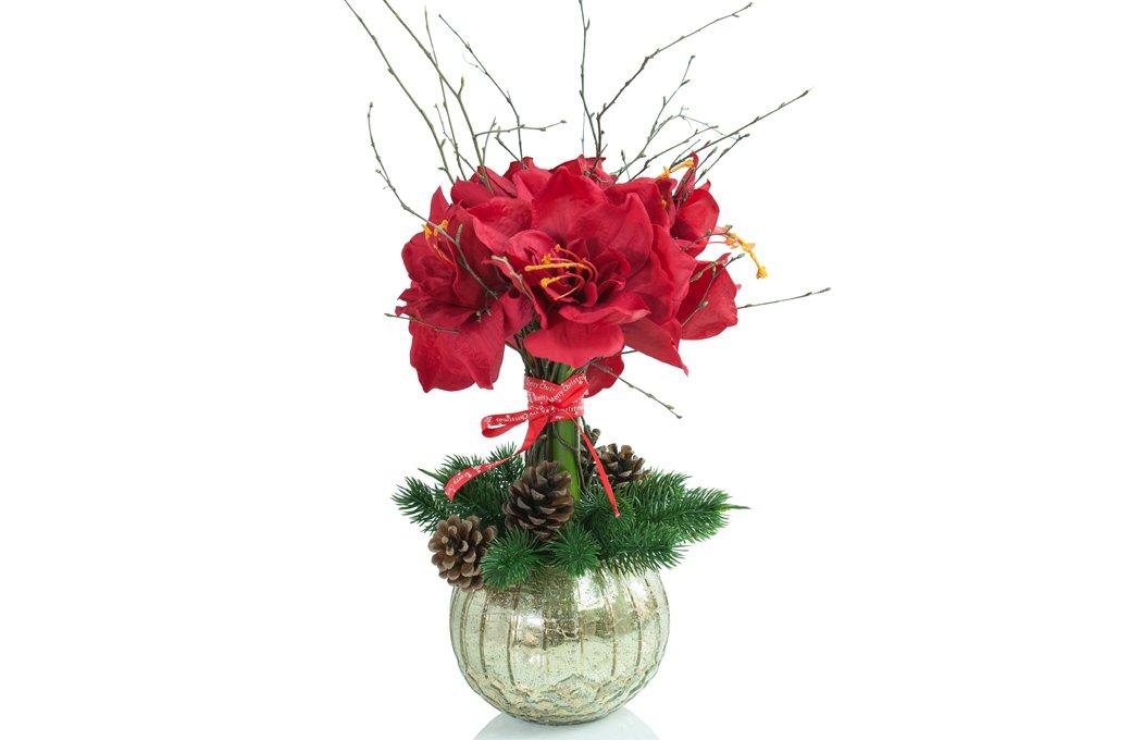 Winter Silk Amaryllis Arrangement Preserved Floral Arrangements Silk Flowers