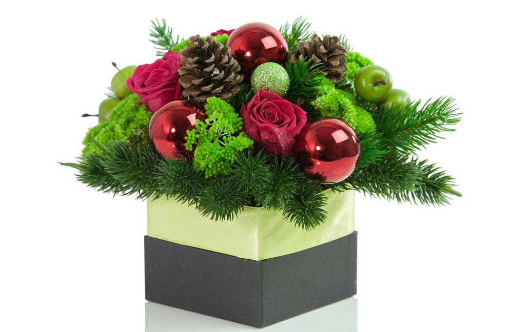 Christmas Flower Box Preserved Floral Arrangements Silk Flowers
