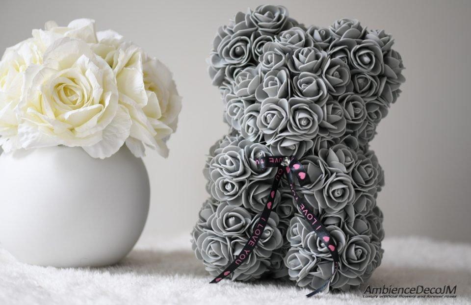 flower bear grey