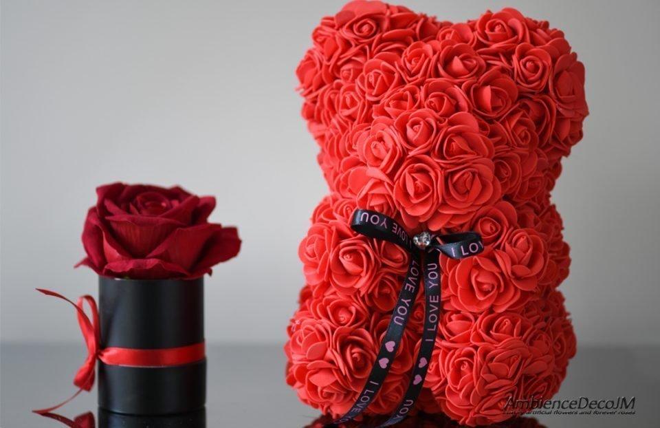 Red flower bear
