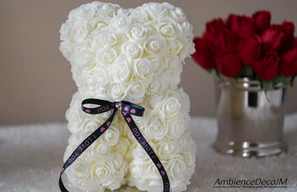 white rose teddy bear