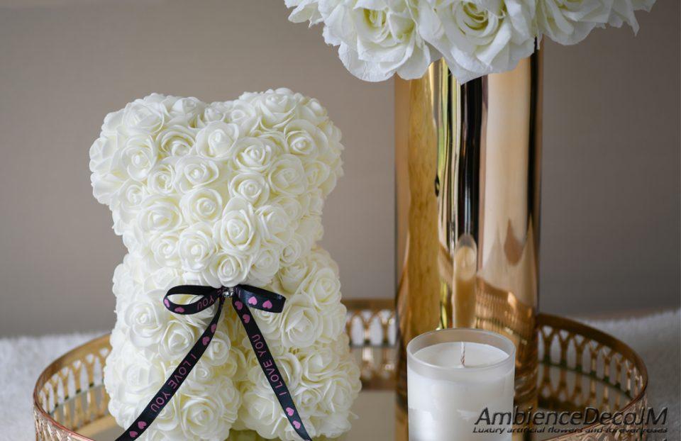 white rose teddy bear