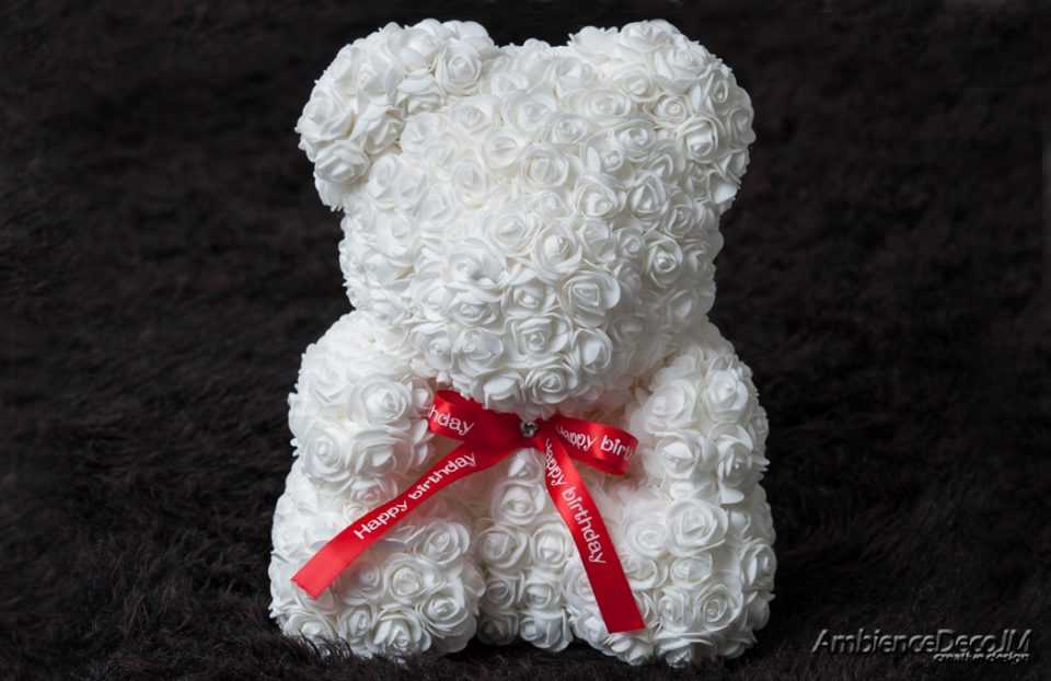 Big Rose Bear White