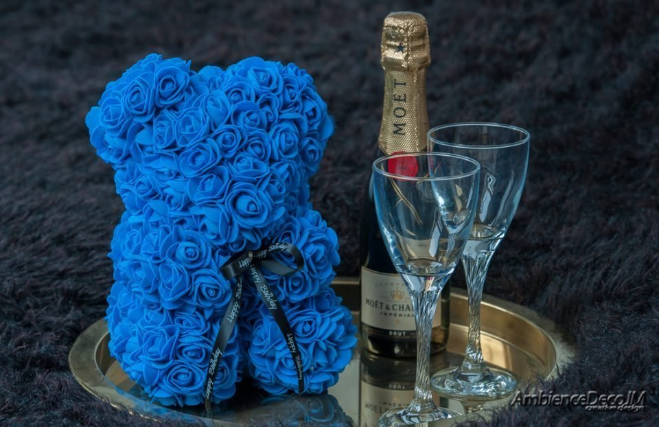 Rose Teddy Bear Blue