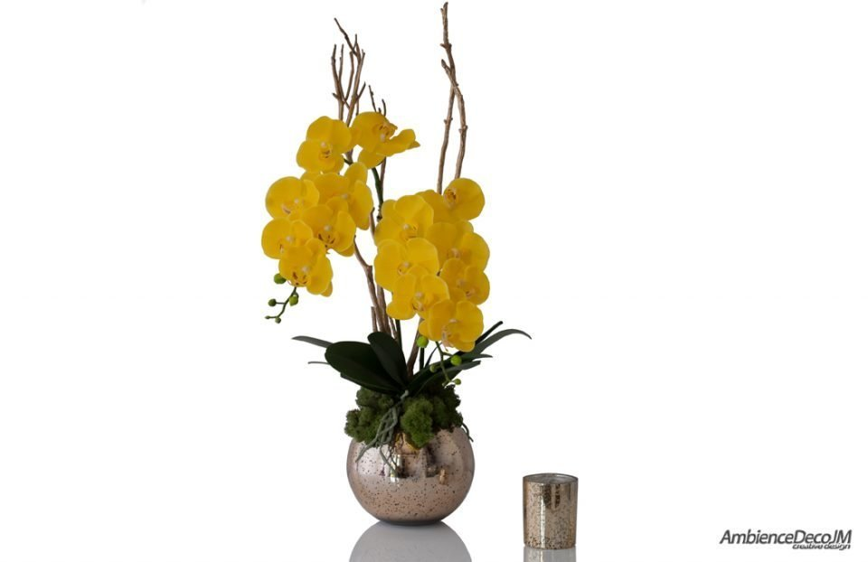 luxury artificial yellow orchids in a gold vase