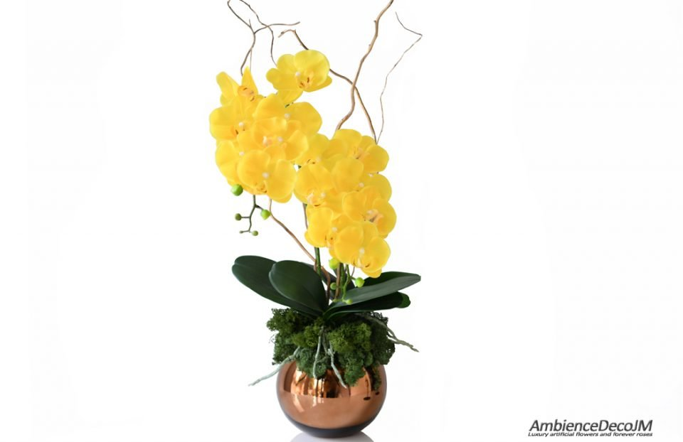 real touch yellow orchids
