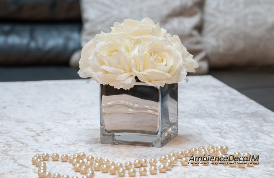 Silk white cream rose centerpiece