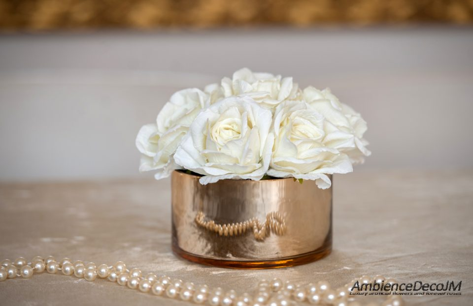 Luxury silk white rose centerpiece