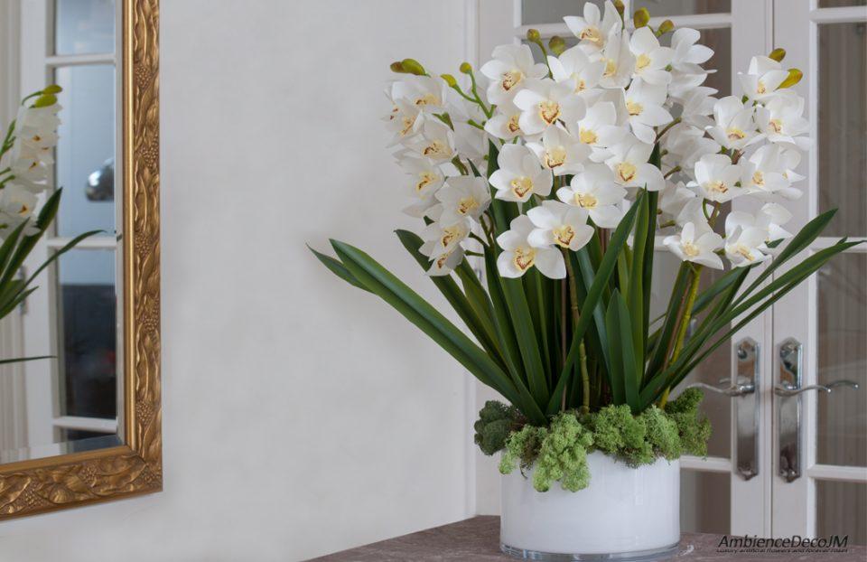 luxury lifelike cymbidium orchid arrangement