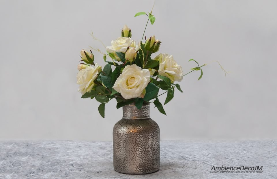 Luxury real touch roses in vase