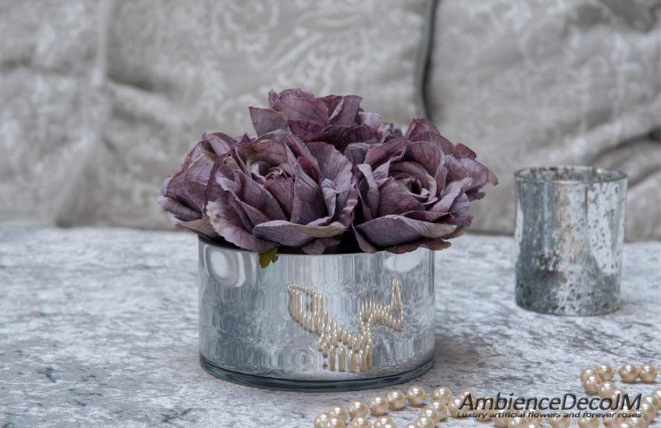 Luxury silk purple roses in vase