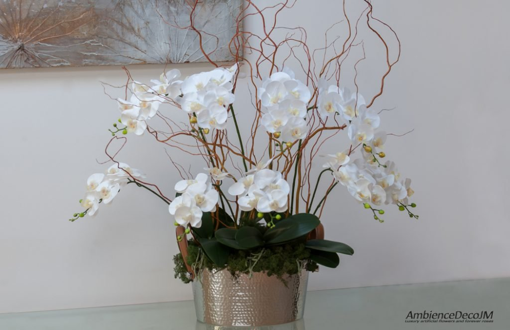 luxury real touch orchids in champagne cooler