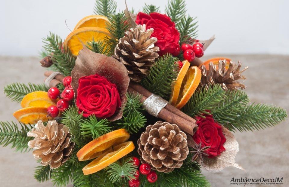 Christmas floral centerpiece