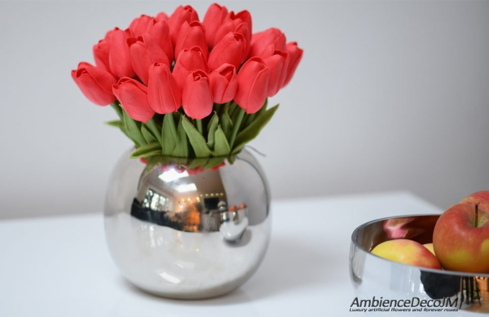 Real touch red tulips centerpiece