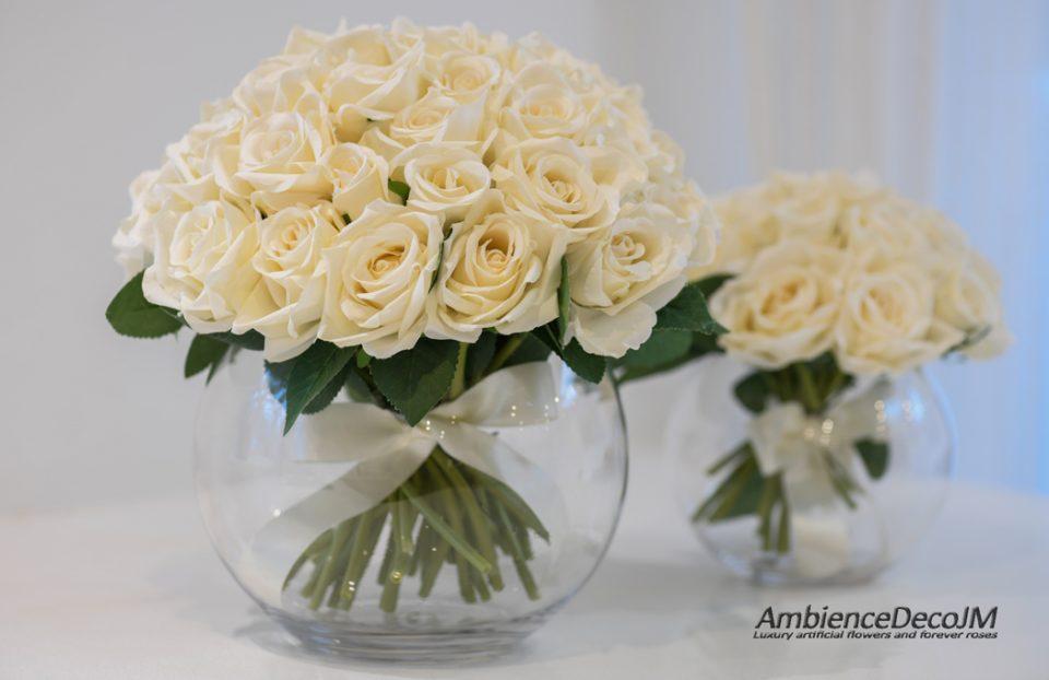 Silk roses in vase