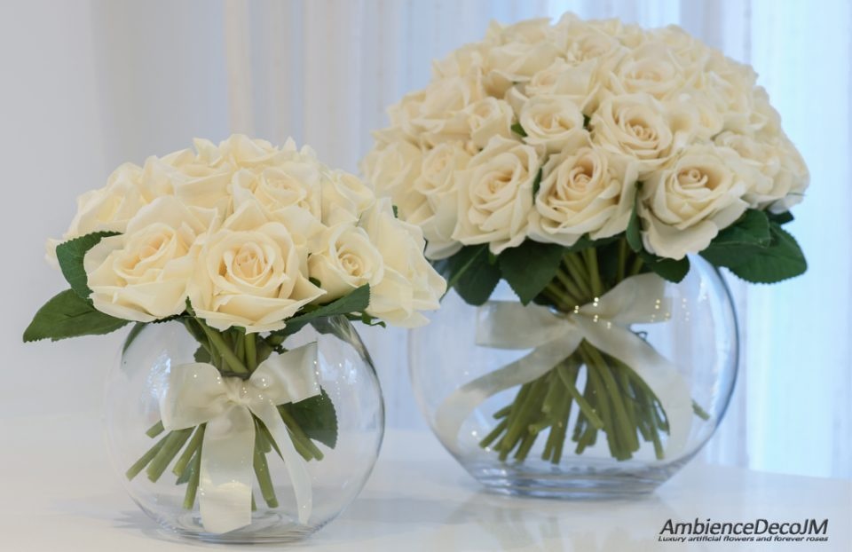 Small Rose Bowl Vase Arrangement