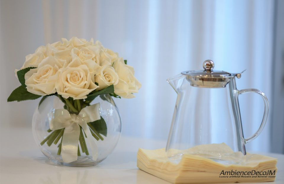 Small Rose Bowl Vase Arrangement