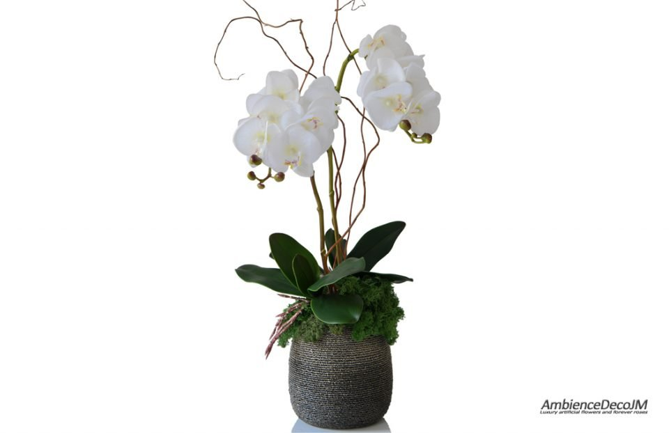 Real touch orchids in beaded pot