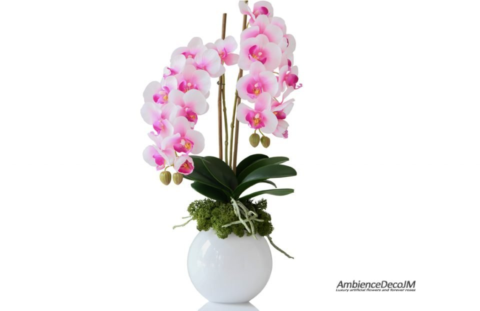 Real touch pink orchid centerpiece