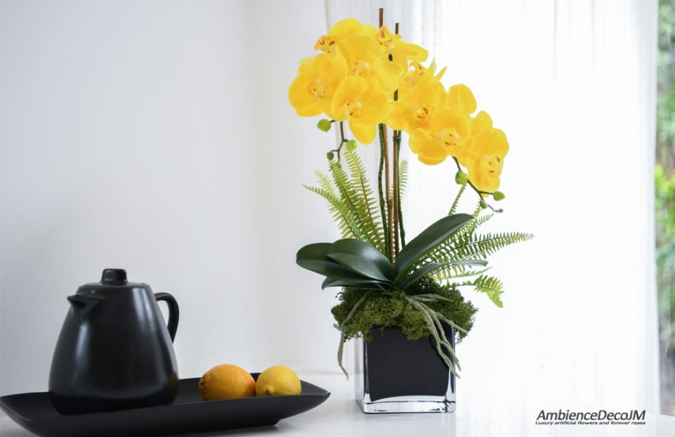 Real touch orchid centerpiece