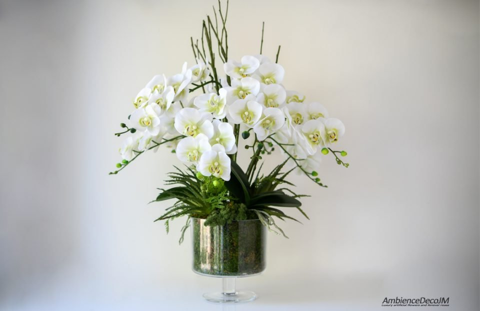 Real touch orchid arrangement with succulents