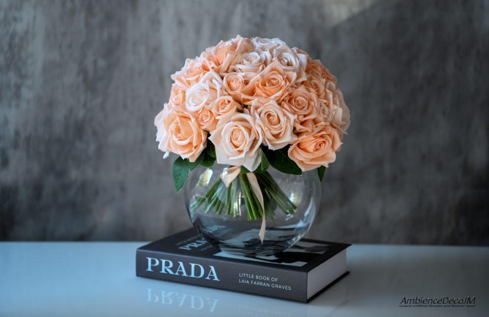 Silk champagne roses in vase