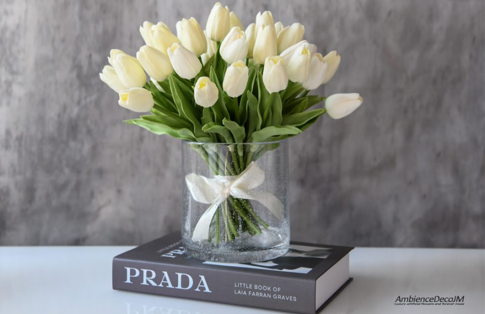 Artificial tulips in a vase