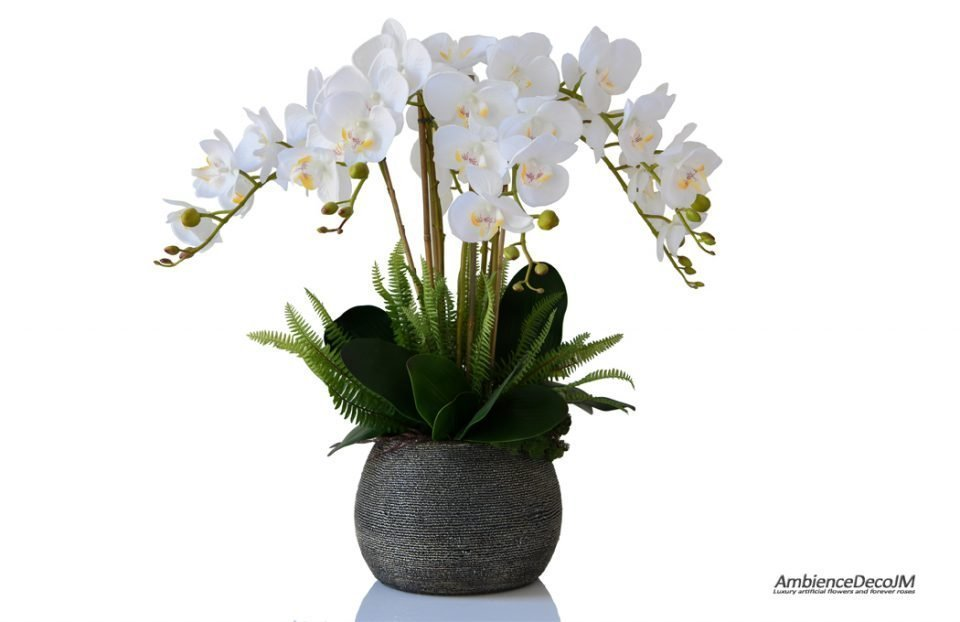 Lifelike orchids in a beaded pot