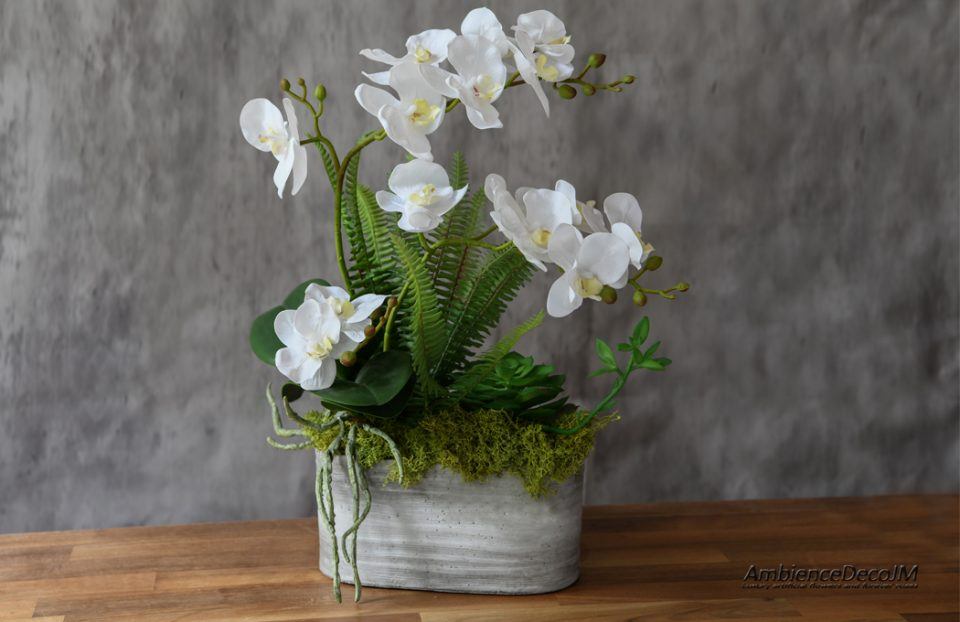 Real touch orchids in pot