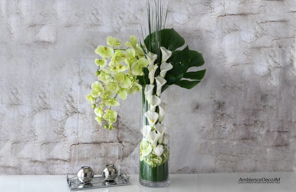 Orchids with calla lily centerpiece