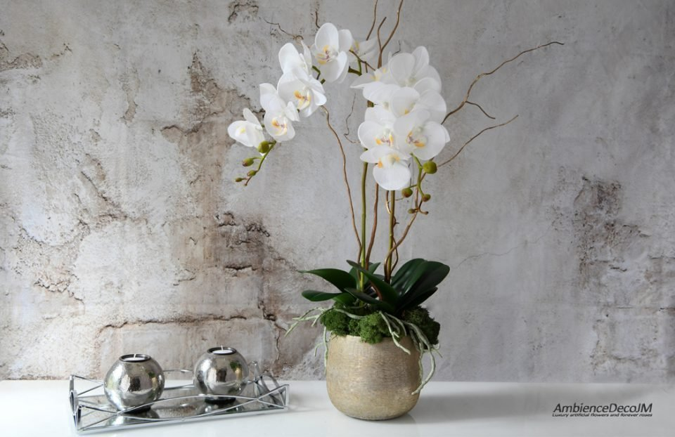 Real touch orchids in golden pot
