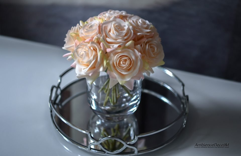 Real touch champagne rose arrangement