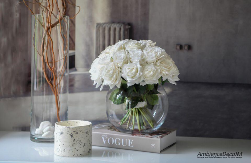 Real touch white flower arrangement