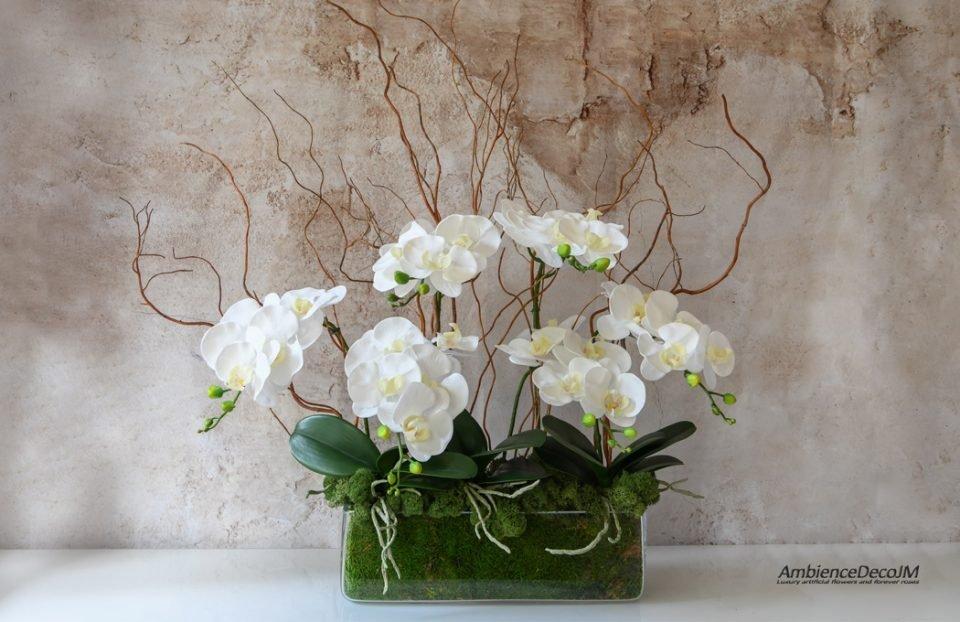 Luxury artificial orchid arrangement.