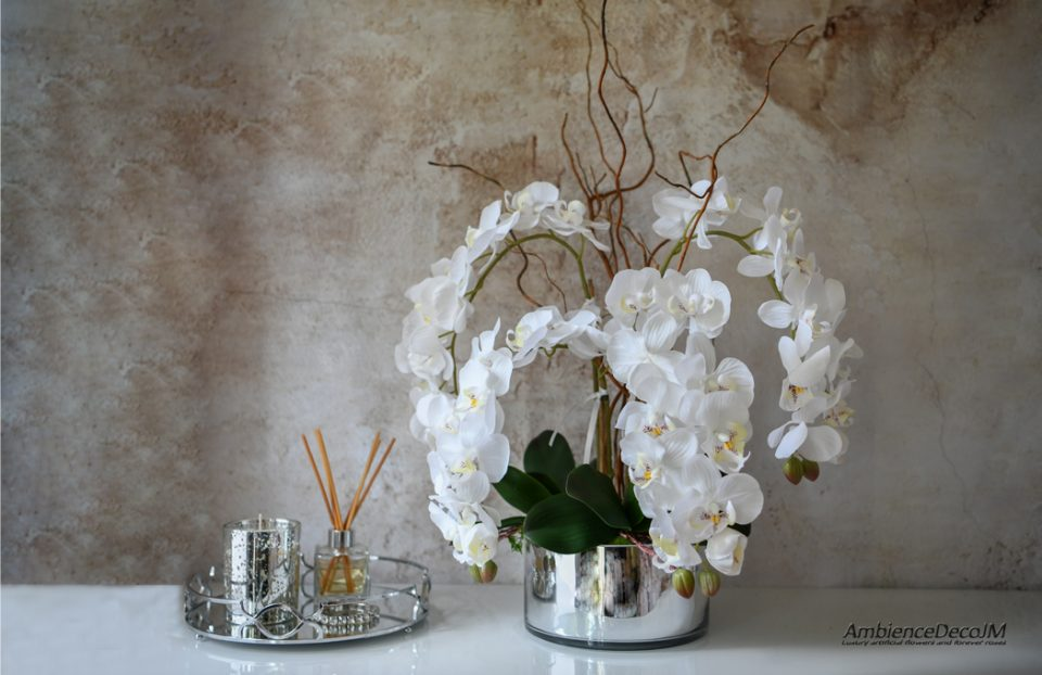 Lifelike orchid and willow arrangement
